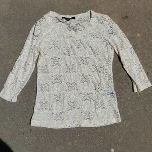 Forever 21 sheer lace shirt cream small